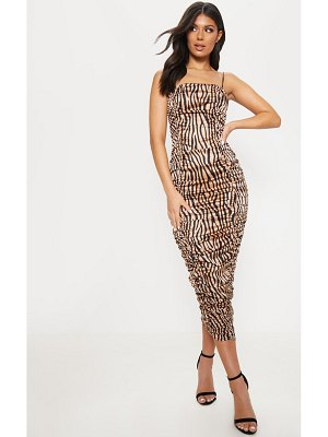 PrettyLittleThing tiger print ruched midaxi dress
