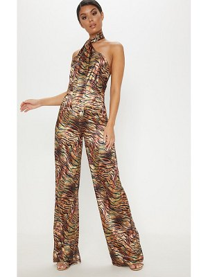 PrettyLittleThing tiger print wrap neck jumpsuit