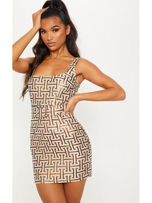 PrettyLittleThing tile jacquard belted bodycon dress