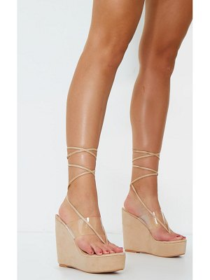 PrettyLittleThing toe thong clear strap ankle tie wedges