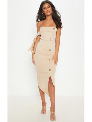 PrettyLittleThing tortoise shell button detail bandeau midi dress