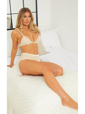 PrettyLittleThing towelling triangle strappy bra lingerie set