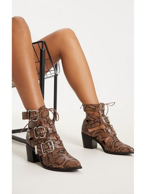PrettyLittleThing triple buckle cut out western boot