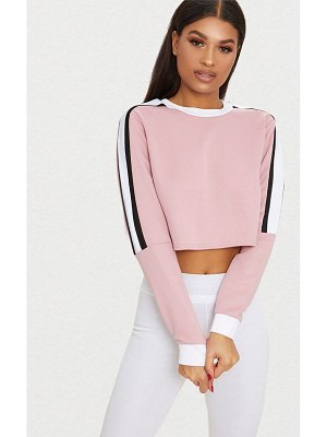 PrettyLittleThing triple shoulder stripe crop sweater