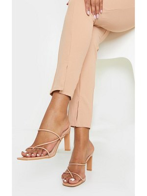 PrettyLittleThing triple strap toe thong flat heel square toe mules