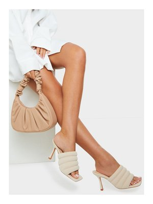 PrettyLittleThing tube strap extreme square toe mule heels