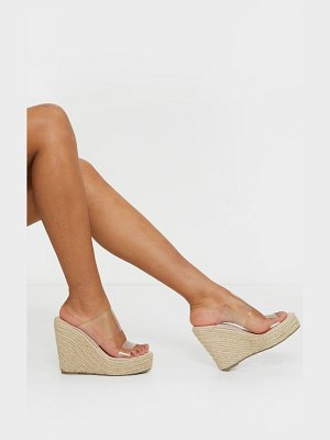 PrettyLittleThing twin strap clear mule espadrille wedges