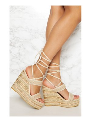 PrettyLittleThing twin strap espadrille wedge