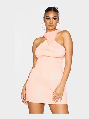 PrettyLittleThing twist front ribbed knitted mini dress