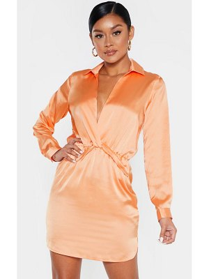 PrettyLittleThing twist front silky shirt dress