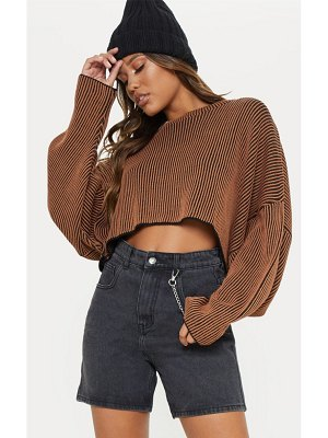PrettyLittleThing two tone knit batwing cropped sweater