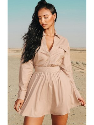 PrettyLittleThing utility plunge skater dress