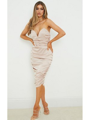 PrettyLittleThing v bar ruched satin midi dress