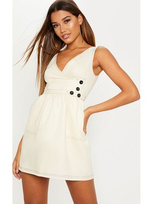 PrettyLittleThing v neck button skater dress