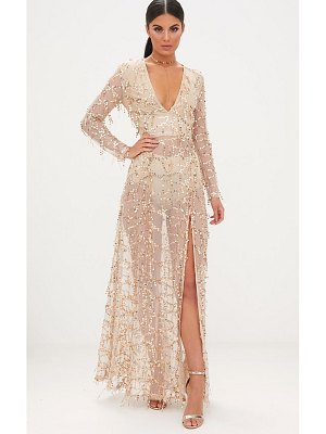 PrettyLittleThing valentina sequin long sleeve maxi dress