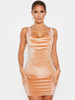 PrettyLittleThing velvet cowl neck bodycon dress
