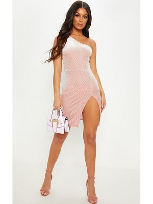 PrettyLittleThing velvet glitter one shoulder mini dress