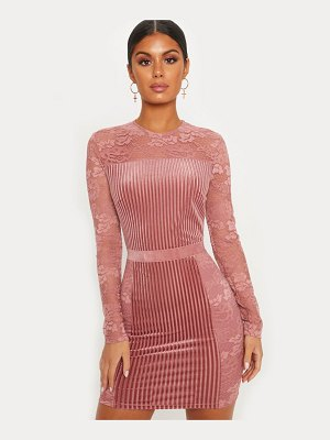PrettyLittleThing velvet lace insert open back bodycon dress