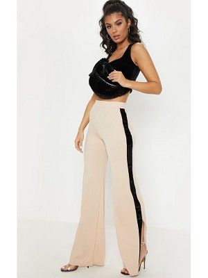 PrettyLittleThing velvet side stripe wide leg pants