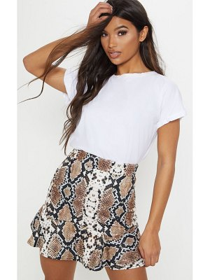 PrettyLittleThing verity snake print flippy hem mini skirt