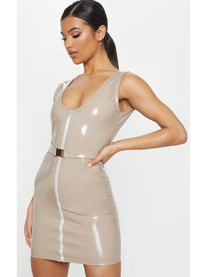 PrettyLittleThing vinyl belted zip bodycon dress