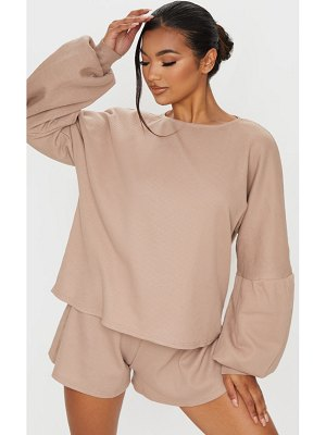 PrettyLittleThing waffle knit crew neck balloon sleeve sweater