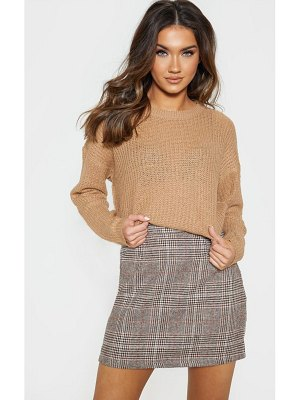 PrettyLittleThing waffle knitted crew neck sweater