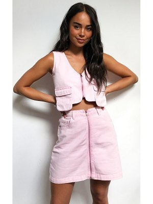 PrettyLittleThing washed pink denim zip skirt
