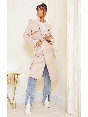 PrettyLittleThing wool military belted midi coat