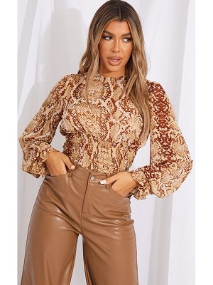 PrettyLittleThing woven animal print ruched waist long sleeve blouse