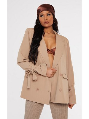 PrettyLittleThing woven arm tie double breasted shoulder padded blazer
