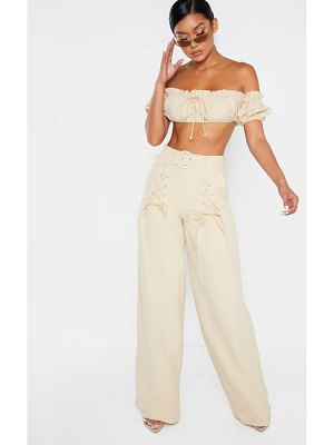 PrettyLittleThing woven belted lace detail wide leg pants