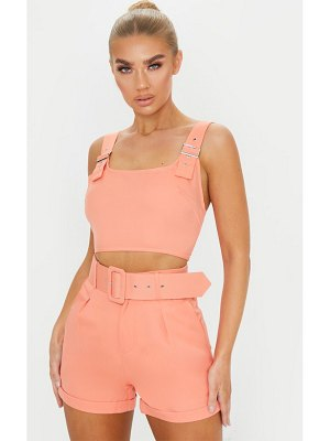PrettyLittleThing woven buckle crop top
