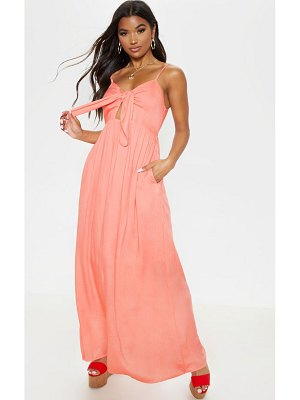 PrettyLittleThing woven button through tie maxi dress