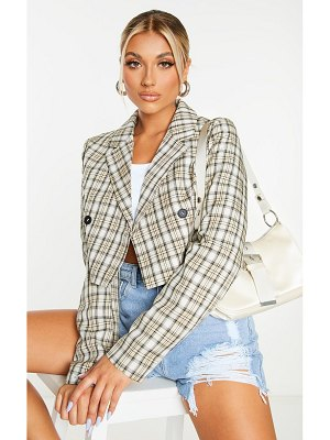 PrettyLittleThing woven checked double breasted cropped blazer