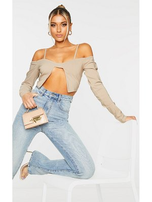 PrettyLittleThing woven cold shoulder crop top