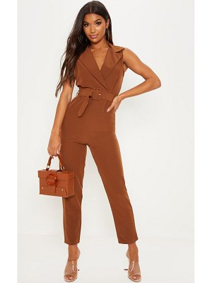 PrettyLittleThing woven collar buckle front jumpsuit