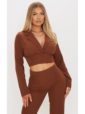 PrettyLittleThing woven corset detail cropped shirt