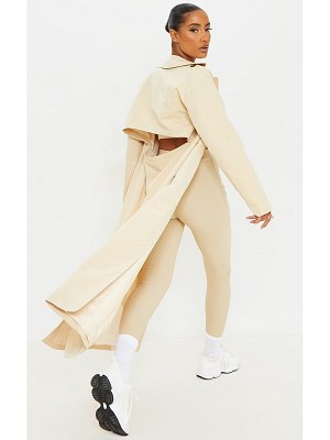 PrettyLittleThing woven cut out back maxi trench