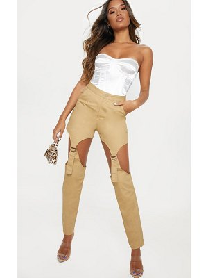 PrettyLittleThing woven cut out buckle detail straight leg trouser