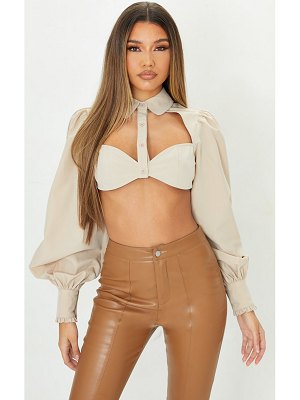 PrettyLittleThing woven cut out detail cropped shirt