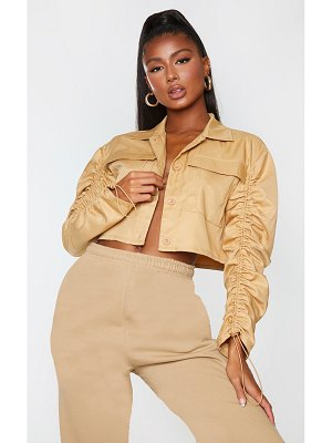 PrettyLittleThing woven down ruched sleeve jacket