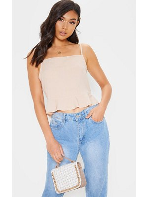 PrettyLittleThing woven frill hem cami top