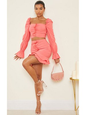 PrettyLittleThing woven frill stretch ruched front mini skirt