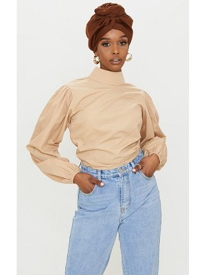 PrettyLittleThing woven high neck puff sleeve elasticated blouse