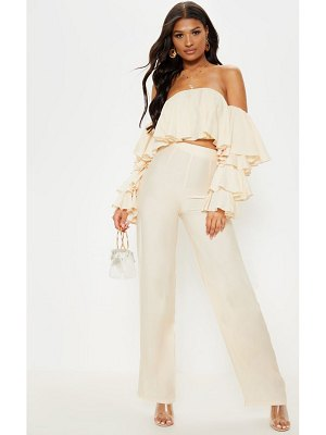 PrettyLittleThing woven high waisted wide leg pants
