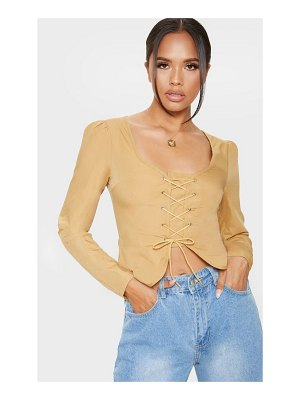PrettyLittleThing woven lace up front long sleeve blouse