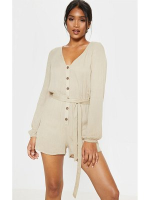 PrettyLittleThing woven long sleeve button through romper
