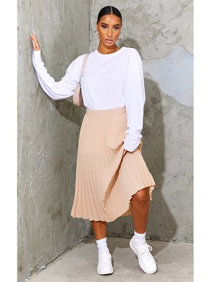 PrettyLittleThing woven pleated midi skirt