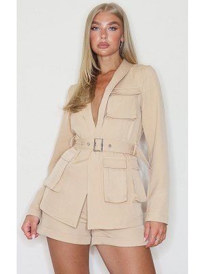 PrettyLittleThing woven pocket detail belted waist blazer